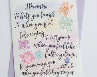 I Promise To... | Cancer Support | Empathy | Encouragement | Friendship Card