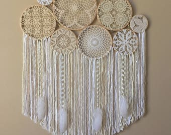 Large Crochet Dream Catcher Wall Hanging, Doily Dream Catcher, Boho Home Decor, Dorm Decor, Crochet Wall Art, Bohemian Bedroom, Yoga Space