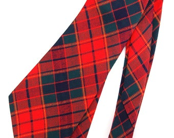 Vintage Red Plaid Tie Student Cravat by Cortney Retro Necktie Not Wool 100% Rayon Acetate Hipster Style/Accessories