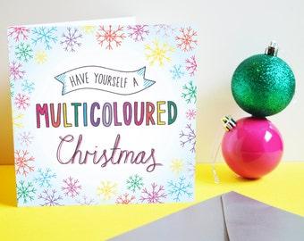 Multicoloured Christmas card. Christmas, Xmas card, Seasons Greetings, Snowflakes, Rainbow, Colourful Christmas