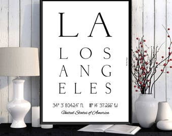 Los Angeles Poster, Los Angeles print, Wall Art decor, Los Angeles city print, City poster, Los Angeles printable, Typography print