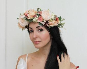 Boho wedding Flower halo Bridal crown Floral crown Wedding flower crown Flower crown Floral head wreath Bridal flower crown
