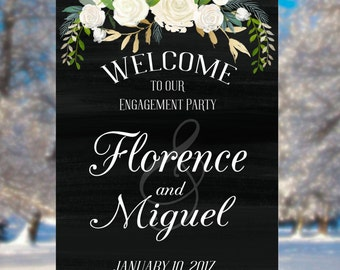 Engagement Welcome Sign- PRINTABLE, Wedding Sign, White Wedding, White and Black, Proposal, She Said Yes, Engagement Party, Engagement Sign