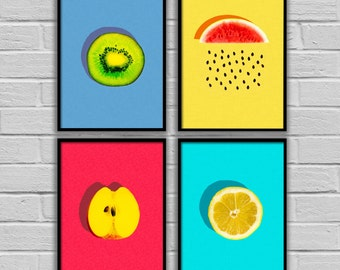 kitchen wall decor, kitchen wall art, Fruit print, Fruit art,Kitchen decor,Kitchen set,Kitchen photography, kitchen art, set of 4 prints