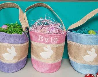 Easter Basket, linen, personalized with name included in embroidery. Colors include: blue,and purple. Name embroidered.