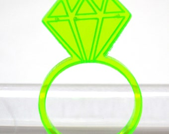 Bling ring, fluorescent acrylic ring, diamond as big as, placekeeper ring, bright acrylic ring,Proposal ring, perspex ring, plexiglass ring