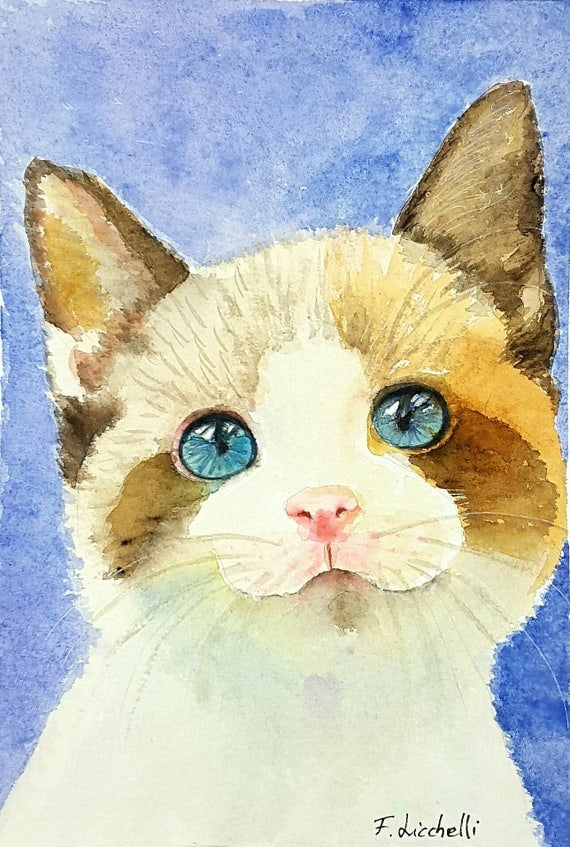 Cat, sweet kitten, original watercolor, pet portrait, ooak, baby shower gift idea, home office decoration, nursery decore, child's bedroom.