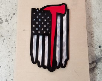 Firefighter / Fireman battle axe american flag. Battle Flag  ****we may not have done before christmas. we are trying our best though
