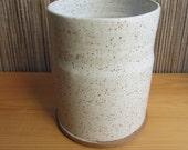 Pottery kitchen utensil holder, speckled white kitchen crock, handthrown pottery, farmhouse pottery