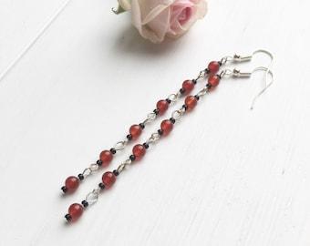 Carnelian Earrings, Carnelian Jewelry, Carnelian Gemstone, Long Boho Earrings, Modern Clip On, Red & Black Earrings, Gypsy Earrings, Gifts