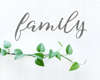 Family Metal Word Art  |  rustic farmhouse home decor wall art