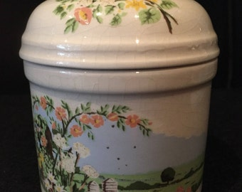 A beautiful Vintage National Trust Lidded Pot by Dorn Williams 1982