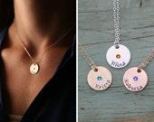 SALE • Birthstone Necklace • Silver Birthstone Circle Necklace • Mom Birthstone Gift •Round Birthstone Charm •Tiny Birthstone Jewelry •BB_17