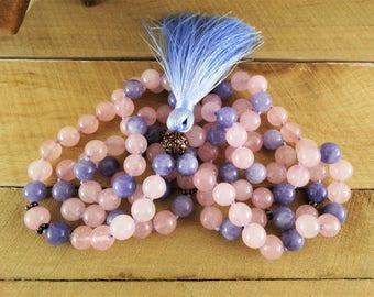 women stone necklace womens yoga jewelry necklace rose quartz necklace gemstone necklace everyday necklace fertility beads Fertility gift