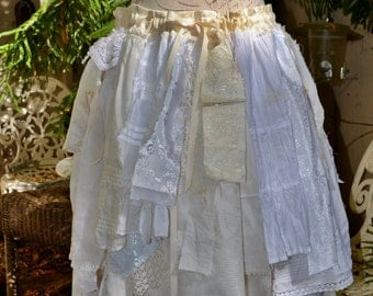 Lace Skirt,Unique One of A Kind Off White Festival Lace Skirt