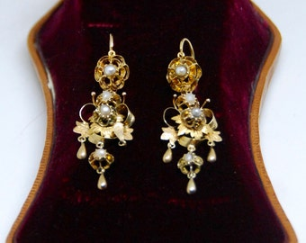 "Exquisite Antique ""Day and Night"" Gold and Natural Pearl Dormeuses Ear Pendants"