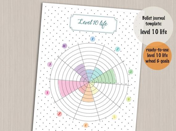 bullet journal printable level 10 life planner template