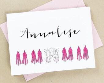Will you be my bridesmaid card, bridesmaid proposal card, bridesmaid card custom, pink, calligraphy, 5x7