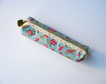 Blue Floral Pencil Case