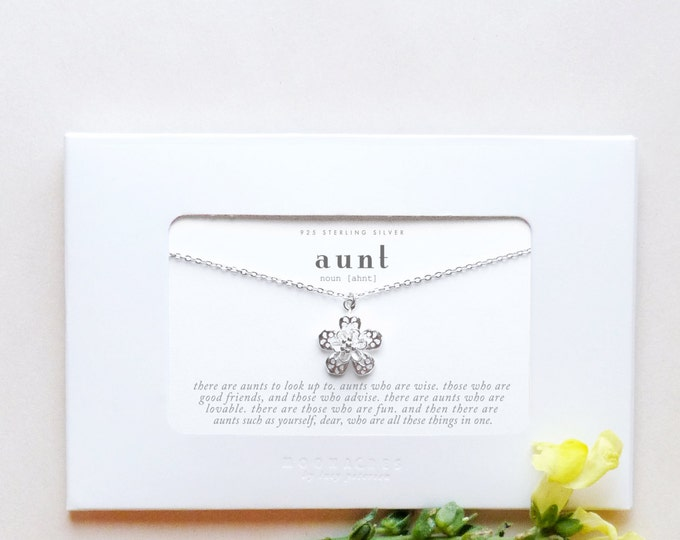 Aunt | Sterling Silver Simple Flower Floral Necklace Poem Message Card Birthday Christmas Wedding Gift New Aunt Thank You Gift From Niece