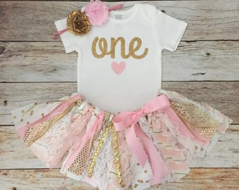 Pink and Gold Sparkly Birthday Outfit with Headband, Pink and Gold Fabric Tutu, Baby Girl Pink and Gold First Birthday Outfit