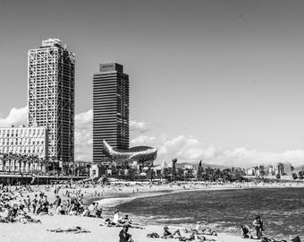 Barceloneta - Barcelona Photography - Wall Art - Fine Art Photography - Minimalist - Beach Photography - Barceloneta BW - 0067