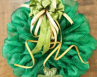 St. Patrick's Day Wreath, Deco Mesh Wreath, St. Patrick's Day  Decor, Green Wreath, Shamrock Decor, Irish Decor, Ready to Ship