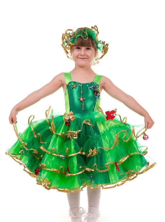 Christmas Tree Costume Outfit Green Party Dress