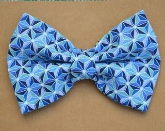 Blue Kaleidoscope Dog Bow Tie