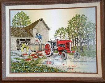 """H. Hargrove """"Apple Harvest"""" Oil Screenprint, Framed, Farm scene, Country Art, Americana"""