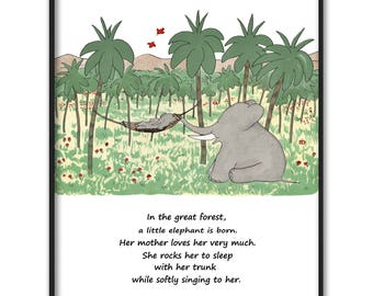 "Girls Nursery Wall Decor, Digital Art (Babar the Elephant Print, Instant Download JPG, Baby Poem Art) --- ""Mother and Daughter"" Wall Art"