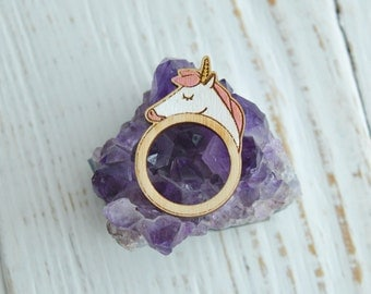 Wooden Ring, Cute Wooden Ring, Hand Painted, Laser Engraved Ring, Unicorn Ring, Finger ring