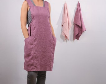Soft linen apron. Linen apron. Wrap apron. Art studio apron. Artist apron. Pinafore apron. Japanese apron. Full smock. Baking apron.
