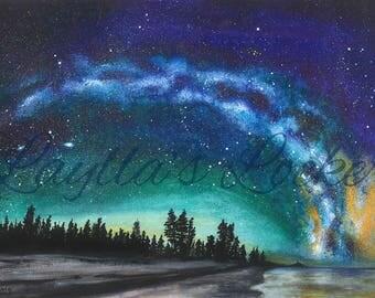 Watercolor Original Painting - Night Sky