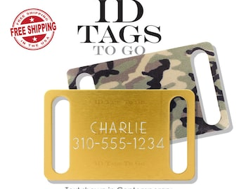 Large Slide On Tag Engraved Collar Slide Pet Dog ID Tag Noise Free Personalized. Gold, Camo, or Black.
