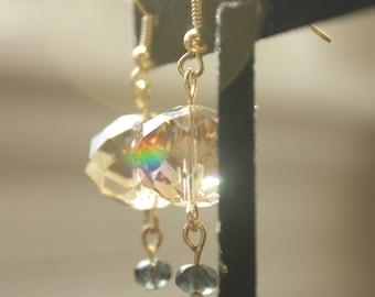 upcycled handmade crystal dangle earrings