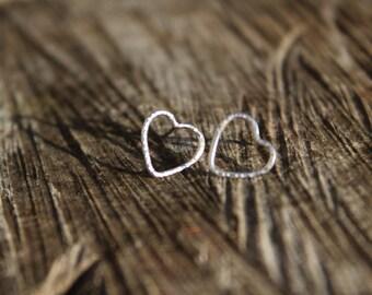 Silver heart studs, silver heart earrings, dainty heart studs, hammered silver heart studs, boho heart studs, rustic silver stud earrings