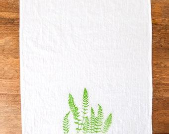 Kitchen Tea Towel , Hand Printed , Fern screen print flour sack , green Pantone Colour of the Year 2017 , Pantone Greenery , botanical print
