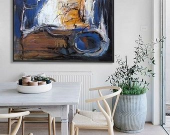 Abstract Painting, Acrylic Painting, Large Canvas Art, Living Room Wall Art.  Blue