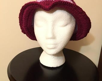 Handmade Hat in Berry & Orchid colors