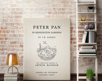 "Canvas Wall Art - Vintage Book Cover - ""Peter Pan in Kensington Gardens""  Vintage Book Decor, Peter Pan Art, Vintage Typography Canvas Art"