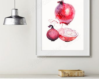 Onions Watercolor Art Print - Vegetable Watercolor - Kitchen Wall Decor - Kitchen Art Print Housewarming Gift