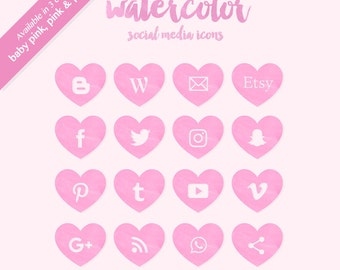 Watercolor Socia Media Icons Buttons PNG for web blog graphics, collage, scrapbook, clip art and more SALE