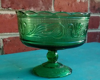 Green glass compote green glass bowl pedestal vase emerald green vase e o Brody glass bowl centerpiece green table decor