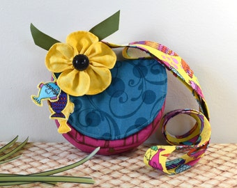 Mini Half Round Shoulder Bag in Pink Teal and Yellow with Inside Zipper Pocket, Small Shoulder Bag with Fish Charms and Yellow Flower Pin