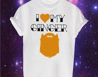 I Love My Ginger Beard Printed T-shirt Funny Comedy Hipster Alternative Ginge