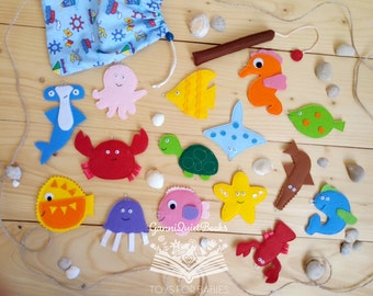 Felt Fishing, Magnetic Fishing, Sensory Toy, Felt Fish, Fishing Game, Fish Game, Montessori Toy, Educational Game for Kids, Learning Toy