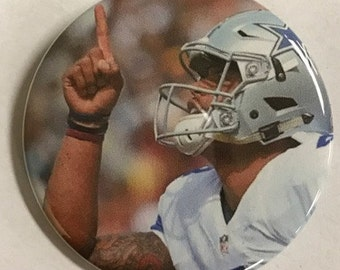 "DALLAS COWBOY *  Dac Prescott  # 4 -  2.25"" Button -  Magnet - or Mirror - NFL Cowboy Souvenir - Dallas Cowboy Gift"
