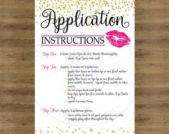 LipSense Application Cards; LipSense Tips and Tricks; LipSense How To Apply Card; Lip Sense Tips and Tricks; Lip Sense How To Apply Card