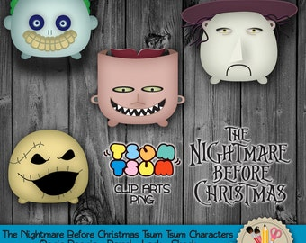 DIGITAL DOWNLOAD - The Nightmare Before Christmas Tsum Tsum Characters, Oogie Boogie, Barrel, Lock & Shock Clip Art, PNG file, 300dpi